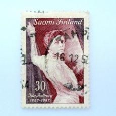 Sellos: SELLO POSTAL FINLANDIA 1957, 30 MK , CENTENARIO ANIVERSARIO ACTRIZ IDA AALBER, USADO. Lote 229911265