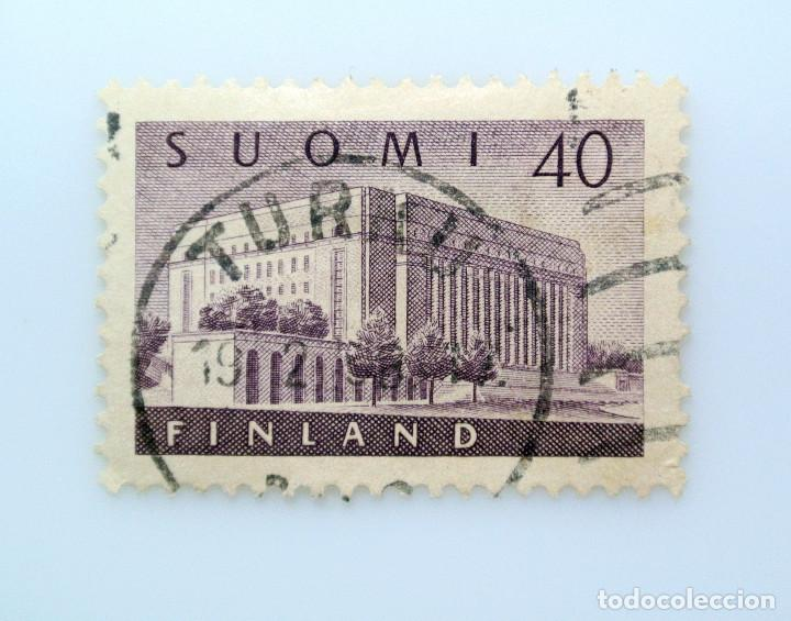 SELLO POSTAL FINLANDIA 1956, 40 MK , CASA DEL PARLAMENTO, USADO (Sellos - Extranjero - Europa - Finlandia)