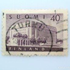 Sellos: SELLO POSTAL FINLANDIA 1956, 40 MK , CASA DEL PARLAMENTO, USADO. Lote 229912080
