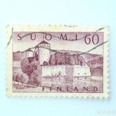 Sellos: SELLO POSTAL FINLANDIA 1957, 60 MK , FORTALEZA OLAVINLINNA , USADO. Lote 229914060