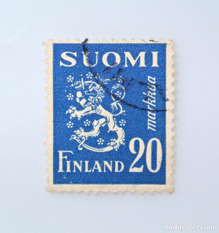 SELLO POSTAL FINLANDIA 1950, 20 MK , ESCUDO DE ARMAS 1930, USADO (Sellos - Extranjero - Europa - Finlandia)