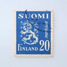 Sellos: SELLO POSTAL FINLANDIA 1950, 20 MK , ESCUDO DE ARMAS 1930, USADO. Lote 229914860