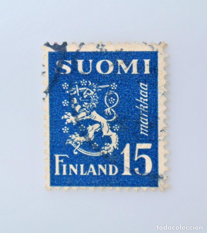 SELLO POSTAL FINLANDIA 1948, 15 MK, ESCUDO DE ARMAS 1930, USADO (Sellos - Extranjero - Europa - Finlandia)