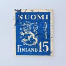 Sellos: SELLO POSTAL FINLANDIA 1948, 15 MK, ESCUDO DE ARMAS 1930, USADO. Lote 229917860