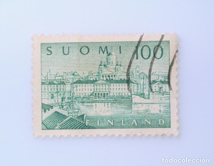 SELLO POSTAL FINLANDIA 1958, 100 MK, PUERTO DE HELSINKI, USADO (Sellos - Extranjero - Europa - Finlandia)