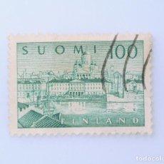 Sellos: SELLO POSTAL FINLANDIA 1958, 100 MK, PUERTO DE HELSINKI, USADO. Lote 229918580