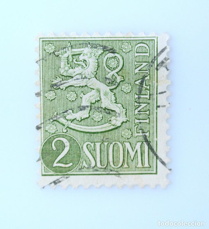 SELLO POSTAL FINLANDIA 1955, 2 MK, ESCUDO DE ARMAS 1954, USADO (Sellos - Extranjero - Europa - Finlandia)