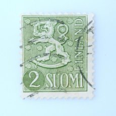 Sellos: SELLO POSTAL FINLANDIA 1955, 2 MK, ESCUDO DE ARMAS 1954, USADO. Lote 229919185