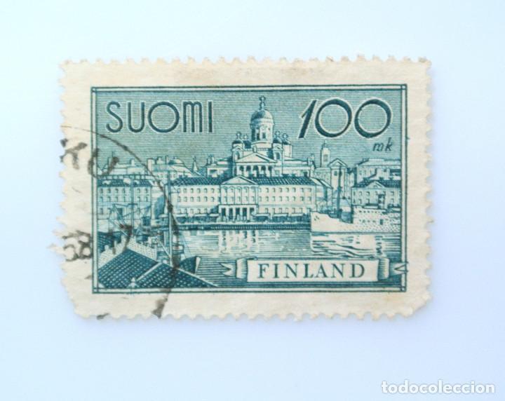 SELLO POSTAL FINLANDIA 1945, 100 MK, PUERTO DE HELSINKI, USADO (Sellos - Extranjero - Europa - Finlandia)