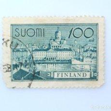 Sellos: SELLO POSTAL FINLANDIA 1945, 100 MK, PUERTO DE HELSINKI, USADO. Lote 229920045