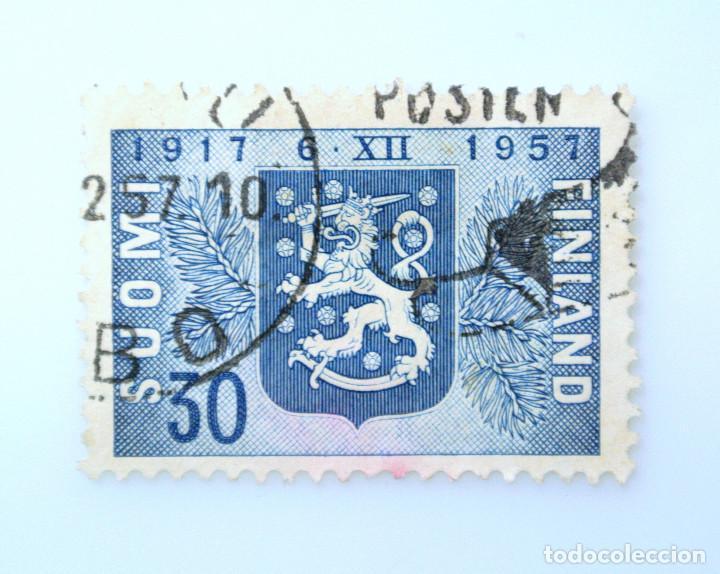 SELLO POSTAL FINLANDIA 1957, 30 MK, 40 ANIVERSARIO INDEPENDENCIA DE FINLANDIA, USADO (Sellos - Extranjero - Europa - Finlandia)
