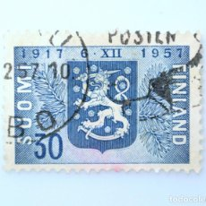 Sellos: SELLO POSTAL FINLANDIA 1957, 30 MK, 40 ANIVERSARIO INDEPENDENCIA DE FINLANDIA, USADO. Lote 229920665