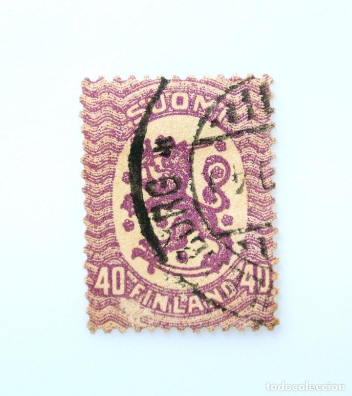 SELLO POSTAL FINLANDIA 1917, 40 MK, ESCUDO DE ARMAS 1917, USADO (Sellos - Extranjero - Europa - Finlandia)