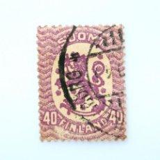 Sellos: SELLO POSTAL FINLANDIA 1917, 40 MK, ESCUDO DE ARMAS 1917, USADO. Lote 229922440