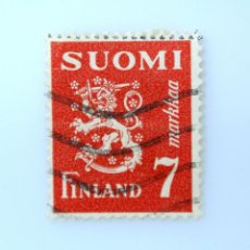 Sellos: SELLO POSTAL FINLANDIA 1947, 7 MK, ESCUDO DE ARMAS 1930, USADO. Lote 229975950