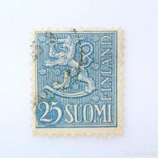 Sellos: SELLO POSTAL FINLANDIA 1954, 25 MK, ESCUDO DE ARMAS 1954, USADO. Lote 230021180