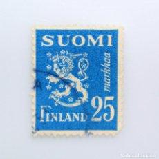 Sellos: SELLO POSTAL FINLANDIA 1952, 25 MK, ESCUDO DE ARMAS 1930, USADO. Lote 230021485