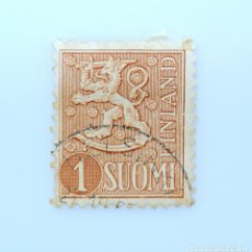 Sellos: SELLO POSTAL FINLANDIA 1955, 1 MK, ESCUDO DE ARMAS 1954, USADO. Lote 230093890
