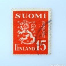 Sellos: SELLO POSTAL FINLANDIA 1952, 15 MK, ESCUDO DE ARMAS 1930, USADO. Lote 230094360