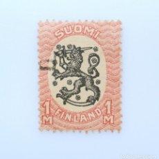Sellos: SELLO POSTAL FINLANDIA 1917, 1 MK, ESCUDO DE ARMAS 1917, USADO. Lote 230094985