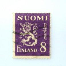 Sellos: SELLO POSTAL FINLANDIA 1946, 8 MK, ESCUDO DE ARMAS 1930, USADO. Lote 230098710
