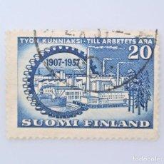 Sellos: SELLO POSTAL FINLANDIA 1957, 20 MK, 50 AÑOS FEDERACION DE EMPLEADORES DE FINLANDIA, USADO. Lote 230099295