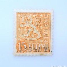Sellos: SELLO POSTAL FINLANDIA 1957, 15 MK, ESCUDO DE ARMAS 1954, USADO. Lote 230099775