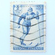 Sellos: SELLO POSTAL FINLANDIA 1958, 30 MK, ESQUI DE FONDO, USADO. Lote 230101470
