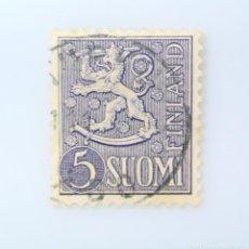 Sellos: SELLO POSTAL FINLANDIA 1954, 5 MK, ESCUDO DE ARMAS 1954, USADO. Lote 230103680