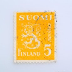 Sellos: SELLO POSTAL FINLANDIA 1946, 5 MK, ESCUDO DE ARMAS 1930, USADO. Lote 230104230