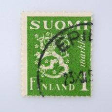 Sellos: SELLO POSTAL FINLANDIA 1942, 1 MK, ESCUDO DE ARMAS 1930, USADO. Lote 230104520