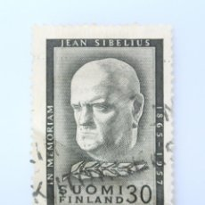 Sellos: SELLO POSTAL FINLANDIA 1957, 30 MK, MUERTE DEL COMPOSITOR JEAN SIBELIUS (1865-1957), USADO. Lote 230104990
