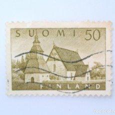 Sellos: SELLO POSTAL FINLANDIA 1957, 50 MK, IGLESIA LAMMI, USADO. Lote 230105370