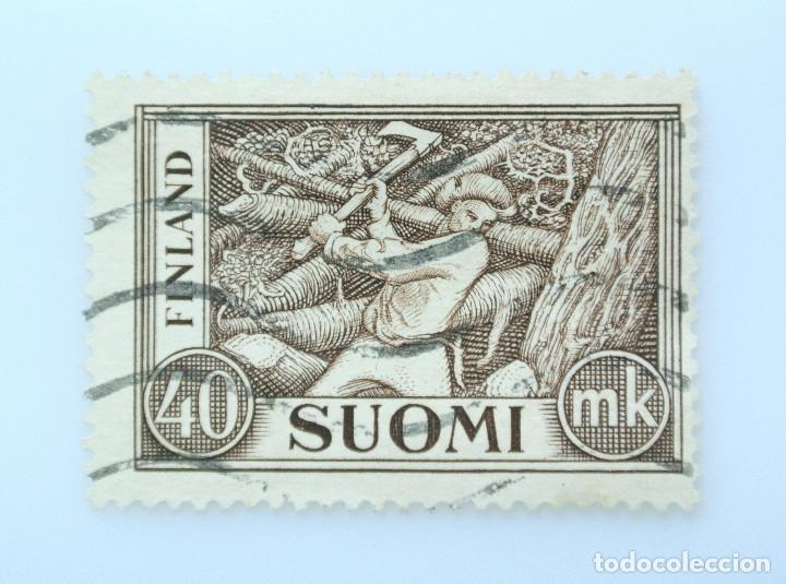 SELLO POSTAL FINLANDIA 1952, 40 MK, LEÑADOR, USADO (Sellos - Extranjero - Europa - Finlandia)