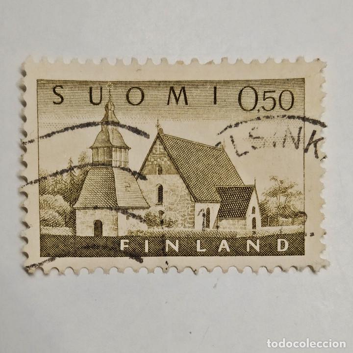 FINLANDIA. SELLO USADO 0.50 MK, 1963, IGLESIA DE LAMMI. ENVÍO GRATIS POR PEDIDOS DE 3€ Ó MÁS. (Sellos - Extranjero - Europa - Finlandia)