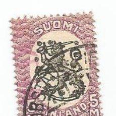Sellos: SELLO USADO DE FINLANDIA DE 1925- ESCUDO NACIONAL- YVERT 119- VALOR 5 MARCOS. Lote 234736080