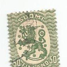 Sellos: SELLO USADO DE FINLANDIA DE 1926- ESCUDO NACIONAL- YVERT 103- VALOR 50 PENNI. Lote 234737250