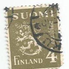 Sellos: SELLO USADO DE FINLANDIA DE 1945- ESCUDO DE ARMAS- YVERT 292- VALOR 4 MARCOS. Lote 234928360