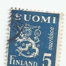 Sellos: SELLO USADO DE FINLANDIA DE 1945- ESCUDO DE ARMAS- YVERT 295- VALOR 5 MARCOS. Lote 234929205