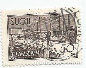 SELLO USADO DE FINLANDIA DE 1942- TORRE TAMPERE- YVERT 251- VALOR 50 MARCOS (Sellos - Extranjero - Europa - Finlandia)