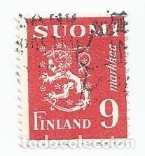 SELLO USADO DE FINLANDIA DE 1948- ESCUDO DE ARMAS- YVERT 299- VALOR 9 MARCOS (Sellos - Extranjero - Europa - Finlandia)