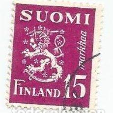 Sellos: SELLO USADO DE FINLANDIA DE 1950- ESCUDO DE ARMAS- YVERT 366- VALOR 15 MARCOS. Lote 235118975