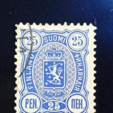 Sellos: FINLANDIA SUOMI 25 PEN, ESCUDO ARMAS, AÑO 1889. Lote 236430885