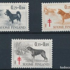 Sellos: FINLANDIA 1965 IVERT 572/4 *** PRO LUCHA ANTITUBERCOLOSIS - PERROS - FAUNA. Lote 243624920