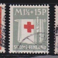 Sellos: FINLANDIA 1930 - CRUZ ROJA SERIE COMPLETA MATASELLADA YVERT Nº 156/158. Lote 256070560