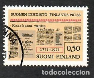 LIQUIDACIÓN. FINLANDIA 1971, YVERT 656. BICENTENARIO DE LA PRENSA. INFORMACIÓN. (Sellos - Extranjero - Europa - Finlandia)