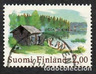 LIQUIDACIÓN. FINLANDIA 1977, YVERT 775. SAUNA Y LAGO. SALUD. PAISAJES. (Sellos - Extranjero - Europa - Finlandia)
