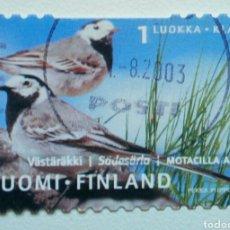 Sellos: FINLANDIA 2001 AVES LAVANDERA SELLO USADO. Lote 268571044
