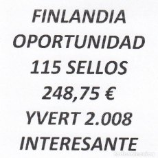 Sellos: INTERESANTE LOTE FINLANDIA, COMPUESTO POR 115 SELLOS, CON 248,75 € CATALOGO YVERT 2.008 +. Lote 277264288