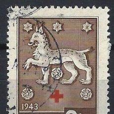 Sellos: FINLANDIA 1943 - CRUZ ROJA, HERÁLDICA FEUDAL, HÄME-TAWASTLAND - USADO. Lote 288897393